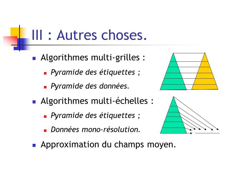 III : Autres choses. Algorithmes multi-grilles : Pyramide des étiquettes ; Pyramide des données. Algorithmes multi-échelles : Pyramide des étiquettes