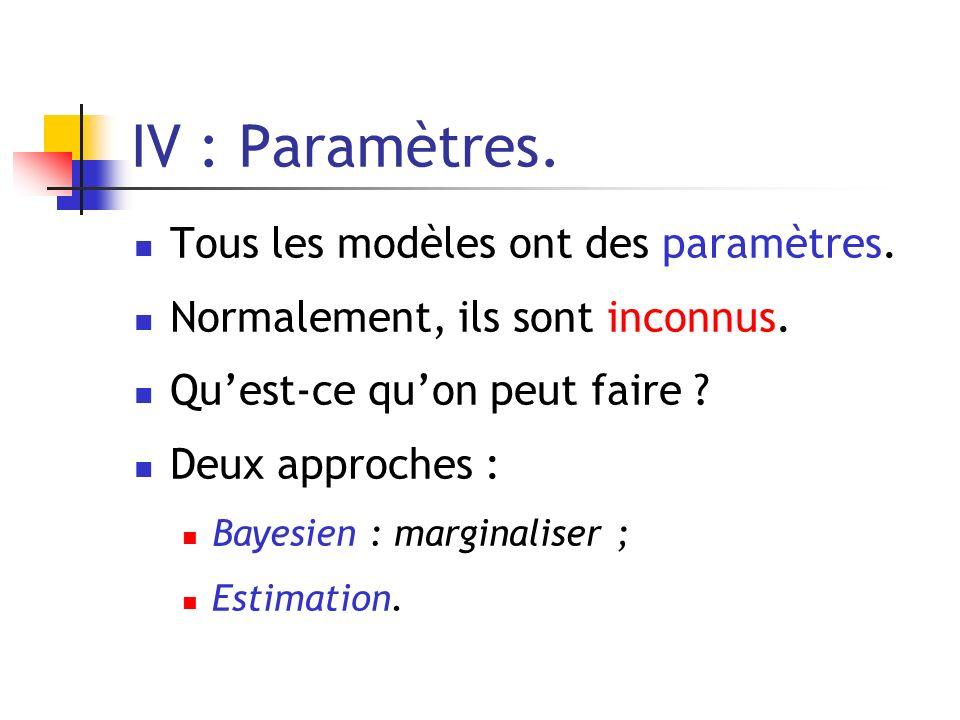 IV : Paramètres. Tous les modèles ont des paramètres. Normalement, ils sont inconnus. Quest-ce quon peut faire ? Deux approches : Bayesien : marginali