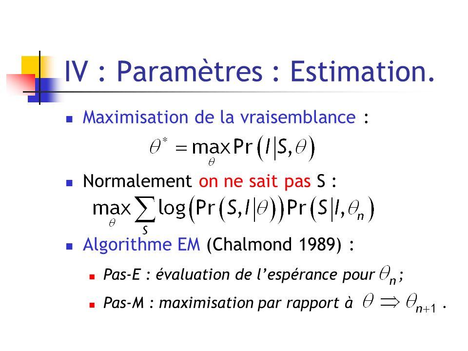 IV : Paramètres : Estimation. Maximisation de la vraisemblance : Normalement on ne sait pas S : Algorithme EM (Chalmond 1989) : Pas-E : évaluation de