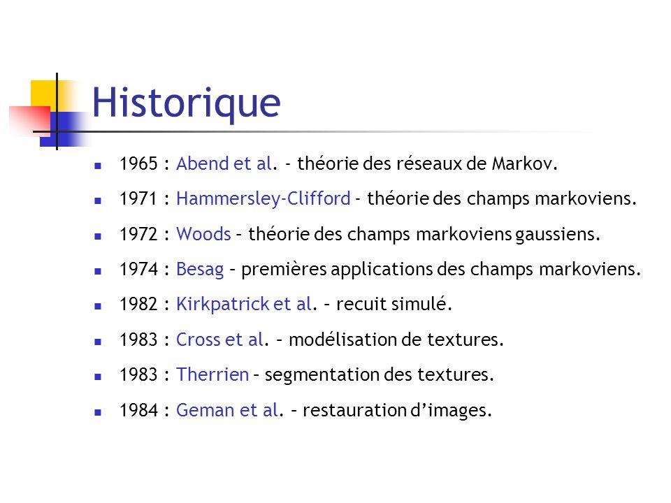 Historique 1965 : Abend et al. - théorie des réseaux de Markov. 1971 : Hammersley-Clifford - théorie des champs markoviens. 1972 : Woods – théorie des