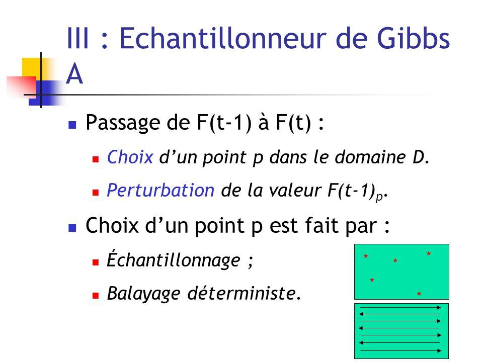 III : Echantillonneur de Gibbs A Passage de F(t-1) à F(t) : Choix dun point p dans le domaine D. Perturbation de la valeur F(t-1) p. Choix dun point p