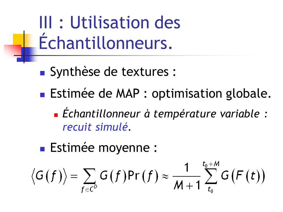 III : Utilisation des Échantillonneurs. Synthèse de textures : Estimée de MAP : optimisation globale. Échantillonneur à température variable : recuit