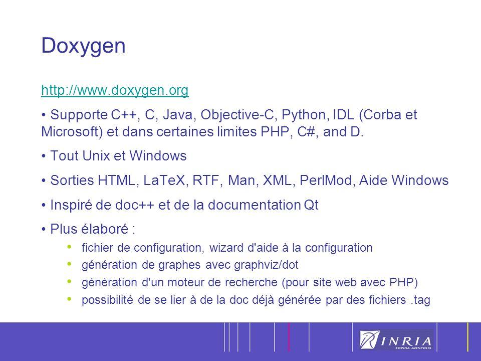 15 Doxygen http://www.doxygen.org Supporte C++, C, Java, Objective-C, Python, IDL (Corba et Microsoft) et dans certaines limites PHP, C#, and D.