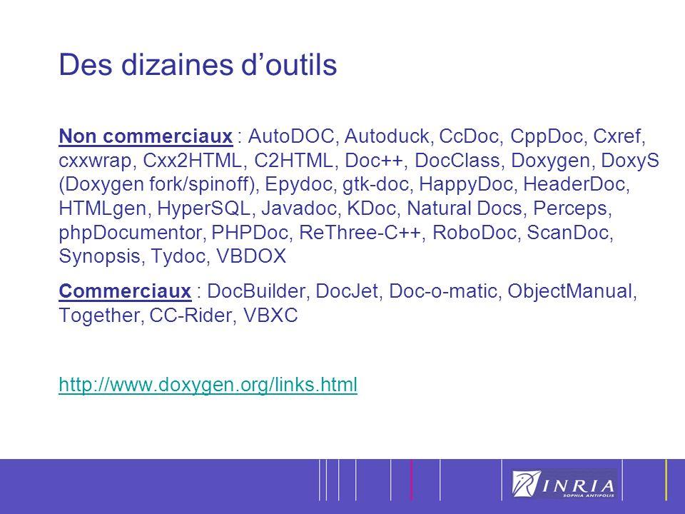 7 Des dizaines doutils Non commerciaux : AutoDOC, Autoduck, CcDoc, CppDoc, Cxref, cxxwrap, Cxx2HTML, C2HTML, Doc++, DocClass, Doxygen, DoxyS (Doxygen fork/spinoff), Epydoc, gtk-doc, HappyDoc, HeaderDoc, HTMLgen, HyperSQL, Javadoc, KDoc, Natural Docs, Perceps, phpDocumentor, PHPDoc, ReThree-C++, RoboDoc, ScanDoc, Synopsis, Tydoc, VBDOX Commerciaux : DocBuilder, DocJet, Doc-o-matic, ObjectManual, Together, CC-Rider, VBXC http://www.doxygen.org/links.html