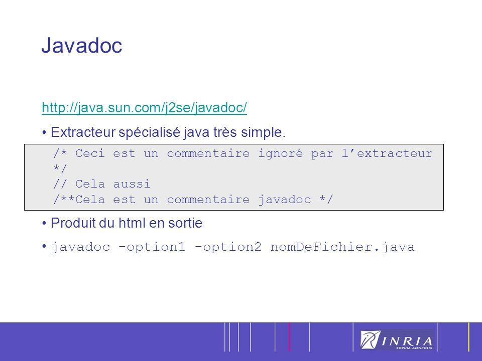 8 http://java.sun.com/j2se/javadoc/ Extracteur spécialisé java très simple.