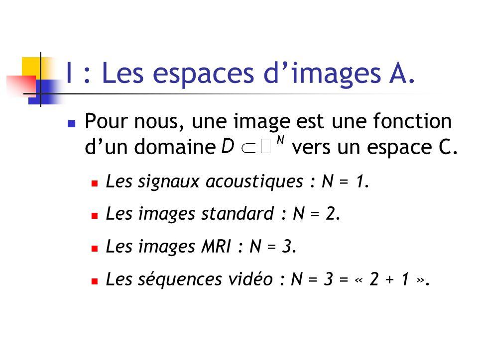 I : Les espaces dimages A. Pour nous, une image est une fonction dun domaine vers un espace C. Les signaux acoustiques : N = 1. Les images standard :