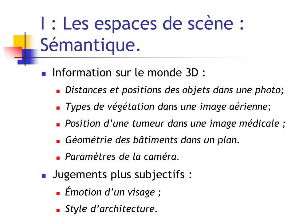 I : Les espaces de scène : Sémantique. Information sur le monde 3D : Distances et positions des objets dans une photo; Types de végétation dans une im