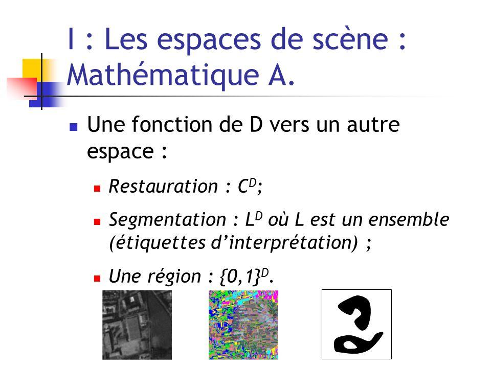 I : Les espaces de scène : Mathématique A. Une fonction de D vers un autre espace : Restauration : C D ; Segmentation : L D où L est un ensemble (étiq