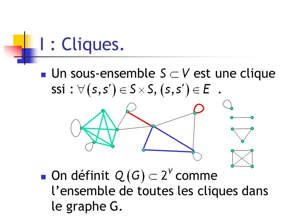 Un sous-ensemble est une clique ssi :. On définit comme lensemble de toutes les cliques dans le graphe G. I : Cliques.