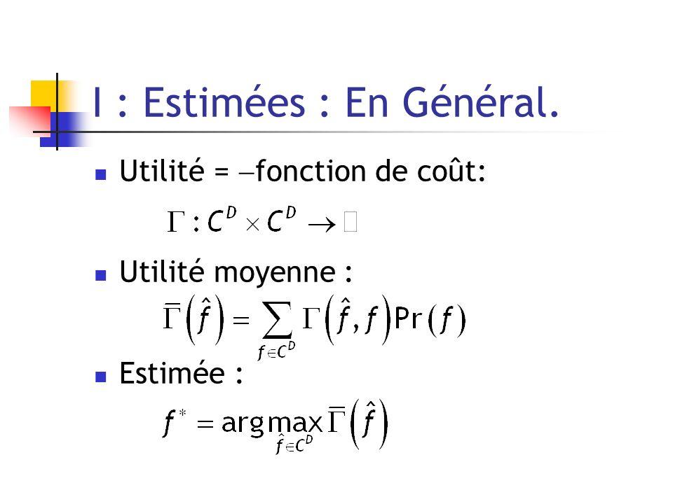 I : Estimées : En Général. Utilité = fonction de coût: Utilité moyenne : Estimée :