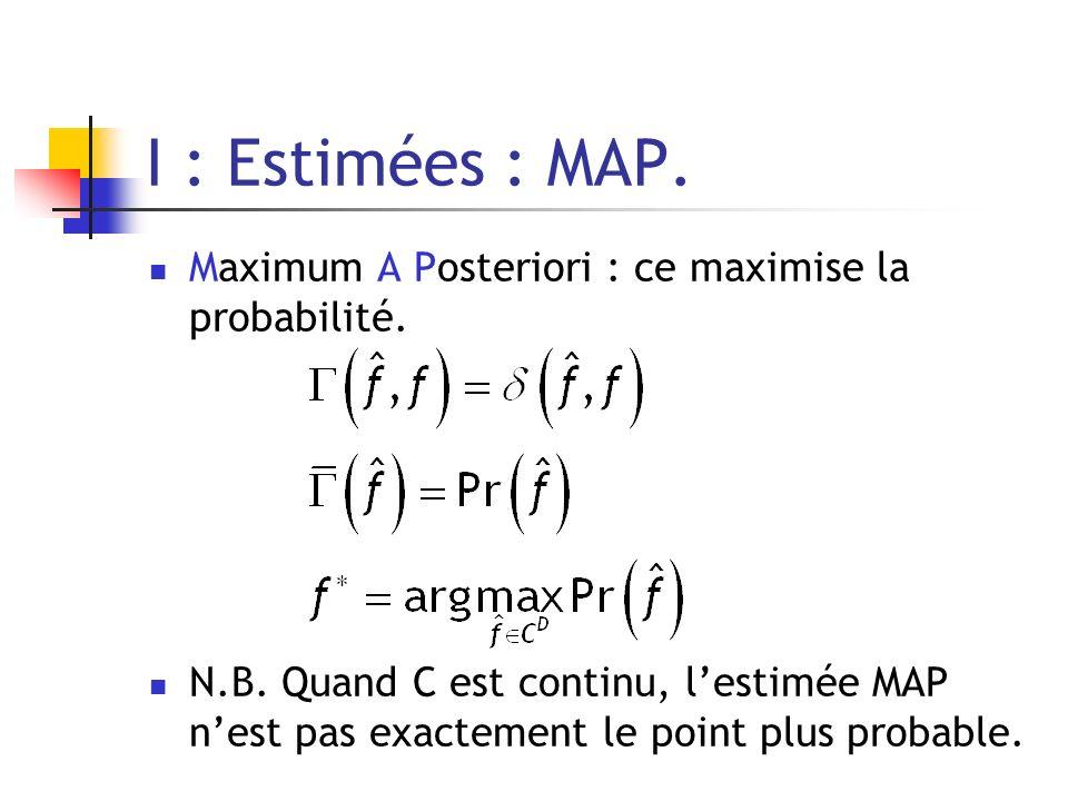 I : Estimées : MAP. Maximum A Posteriori : ce maximise la probabilité. N.B. Quand C est continu, lestimée MAP nest pas exactement le point plus probab
