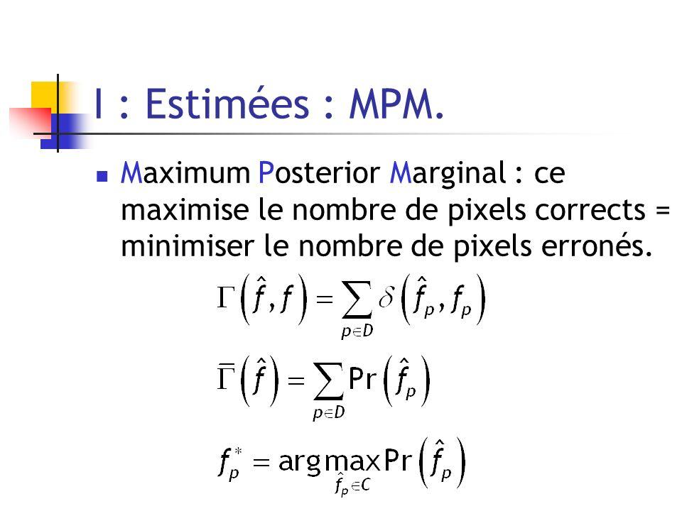 I : Estimées : MPM. Maximum Posterior Marginal : ce maximise le nombre de pixels corrects = minimiser le nombre de pixels erronés.