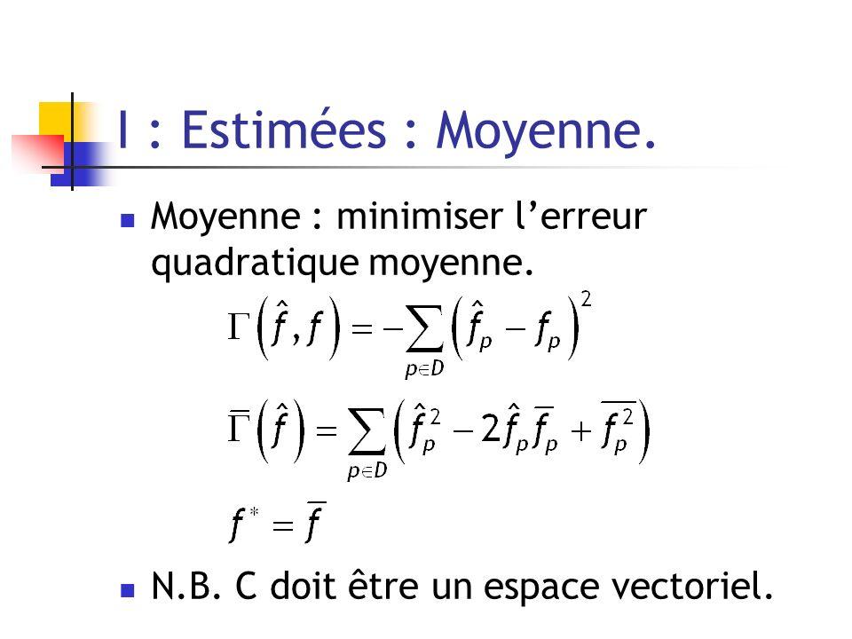 I : Estimées : Moyenne. Moyenne : minimiser lerreur quadratique moyenne. N.B. C doit être un espace vectoriel.