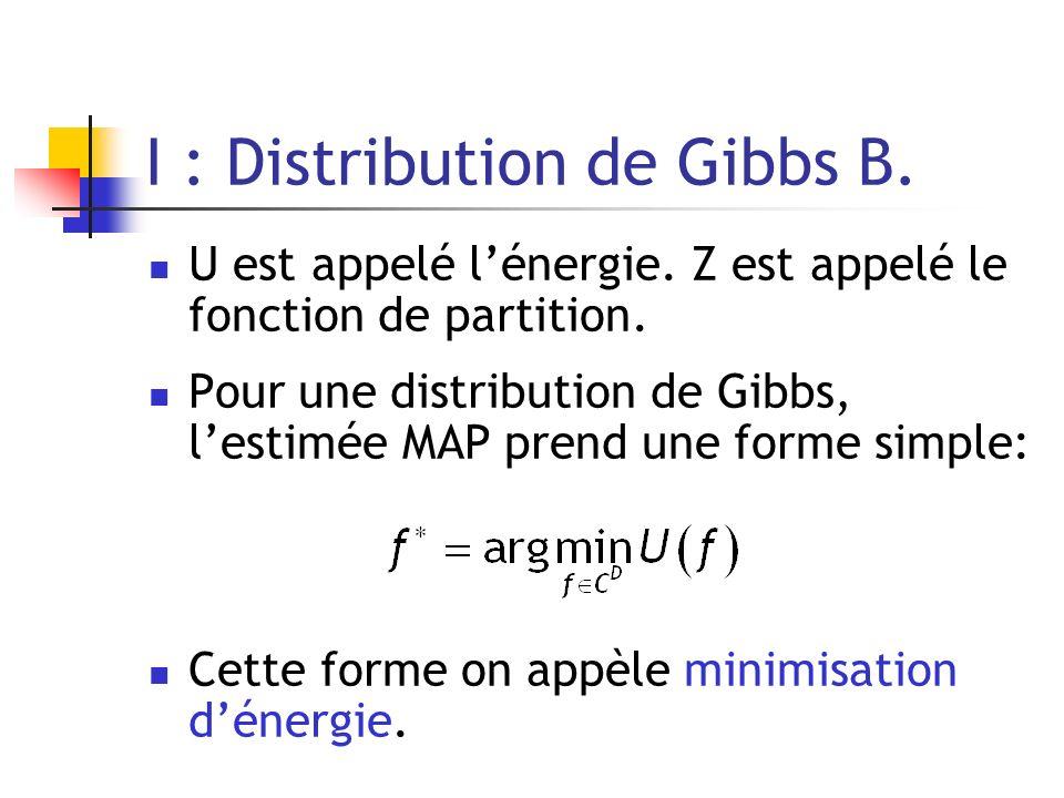 I : Distribution de Gibbs B. U est appelé lénergie. Z est appelé le fonction de partition. Pour une distribution de Gibbs, lestimée MAP prend une form