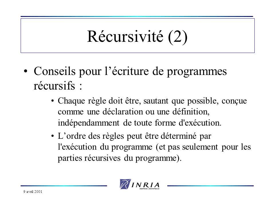 9 avril 2001 Récursivité (2) Conseils pour lécriture de programmes récursifs : Chaque règle doit être, sautant que possible, conçue comme une déclaration ou une définition, indépendamment de toute forme d exécution.