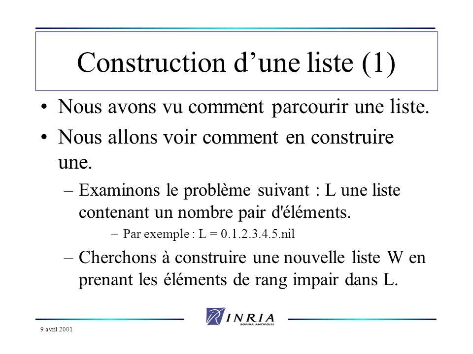 9 avril 2001 Construction dune liste (1) Nous avons vu comment parcourir une liste.