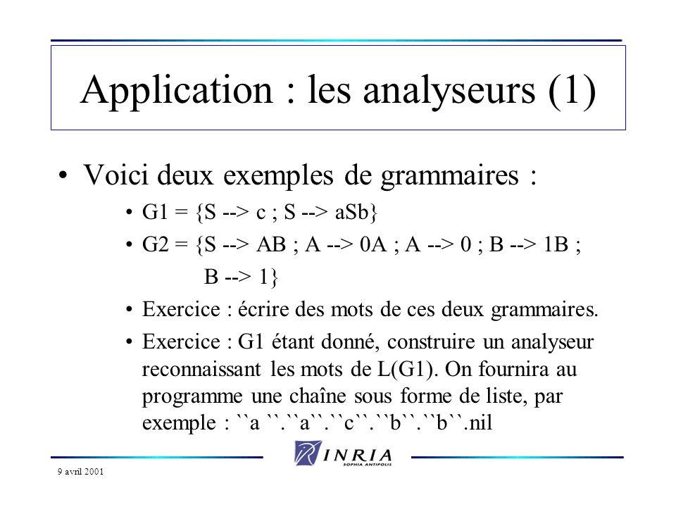 9 avril 2001 Application : les analyseurs (1) Voici deux exemples de grammaires : G1 = {S --> c ; S --> aSb} G2 = {S --> AB ; A --> 0A ; A --> 0 ; B --> 1B ; B --> 1} Exercice : écrire des mots de ces deux grammaires.