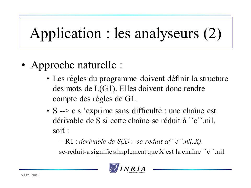 9 avril 2001 Application : les analyseurs (2) Approche naturelle : Les règles du programme doivent définir la structure des mots de L(G1).
