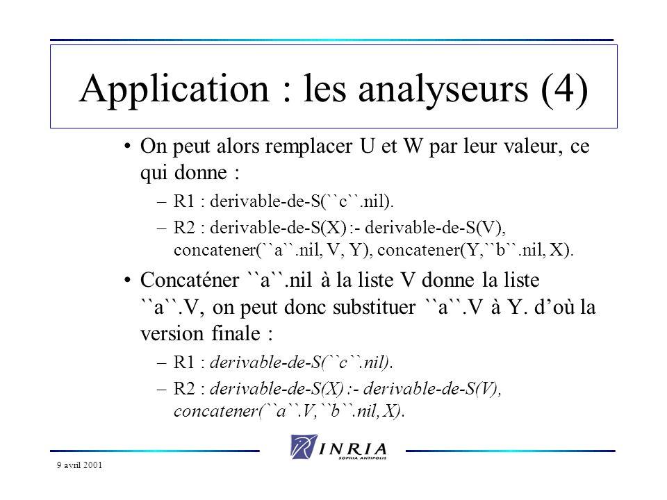 9 avril 2001 Application : les analyseurs (4) On peut alors remplacer U et W par leur valeur, ce qui donne : –R1 : derivable-de-S(``c``.nil).