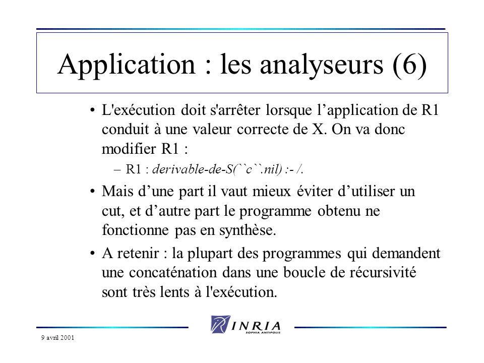 9 avril 2001 Application : les analyseurs (6) L exécution doit s arrêter lorsque lapplication de R1 conduit à une valeur correcte de X.
