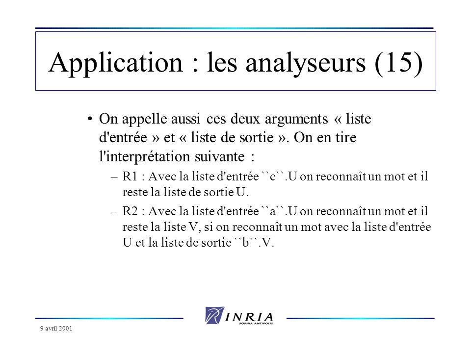 9 avril 2001 Application : les analyseurs (15) On appelle aussi ces deux arguments « liste d entrée » et « liste de sortie ».