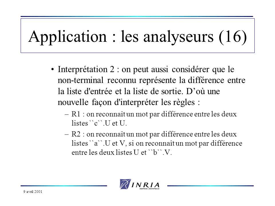 9 avril 2001 Application : les analyseurs (16) Interprétation 2 : on peut aussi considérer que le non-terminal reconnu représente la différence entre la liste d entrée et la liste de sortie.
