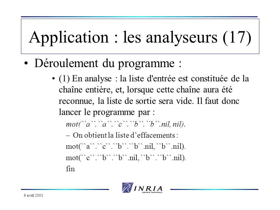 9 avril 2001 Application : les analyseurs (17) Déroulement du programme : (1) En analyse : la liste d entrée est constituée de la chaîne entière, et, lorsque cette chaîne aura été reconnue, la liste de sortie sera vide.
