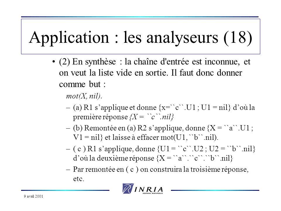 9 avril 2001 Application : les analyseurs (18) (2) En synthèse : la chaîne d entrée est inconnue, et on veut la liste vide en sortie.