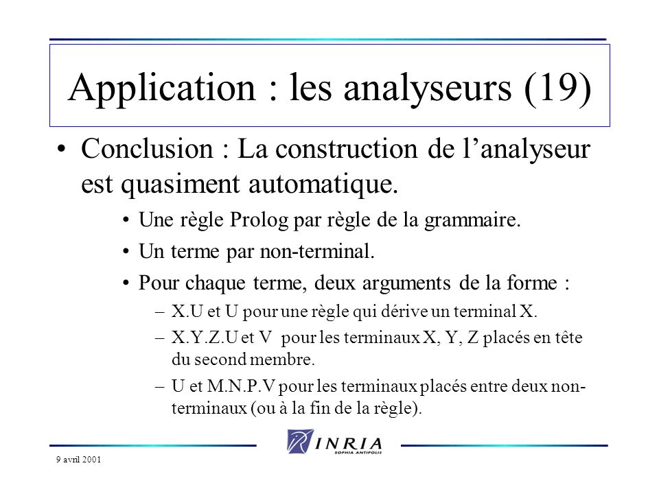 9 avril 2001 Application : les analyseurs (19) Conclusion : La construction de lanalyseur est quasiment automatique.