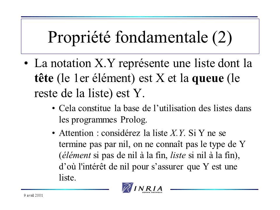 9 avril 2001 Construction dune liste (10) –Exercice classique : concaténation de deux listes Plusieurs possibilités : –récursivité –découpage de la liste –construction directe –utilisation d une liste auxiliaire –passage final de paramètre (méthode précédente)