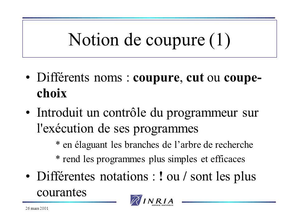 26 mars 2001 Notion de coupure (1) Différents noms : coupure, cut ou coupe- choix Introduit un contrôle du programmeur sur l'exécution de ses programm