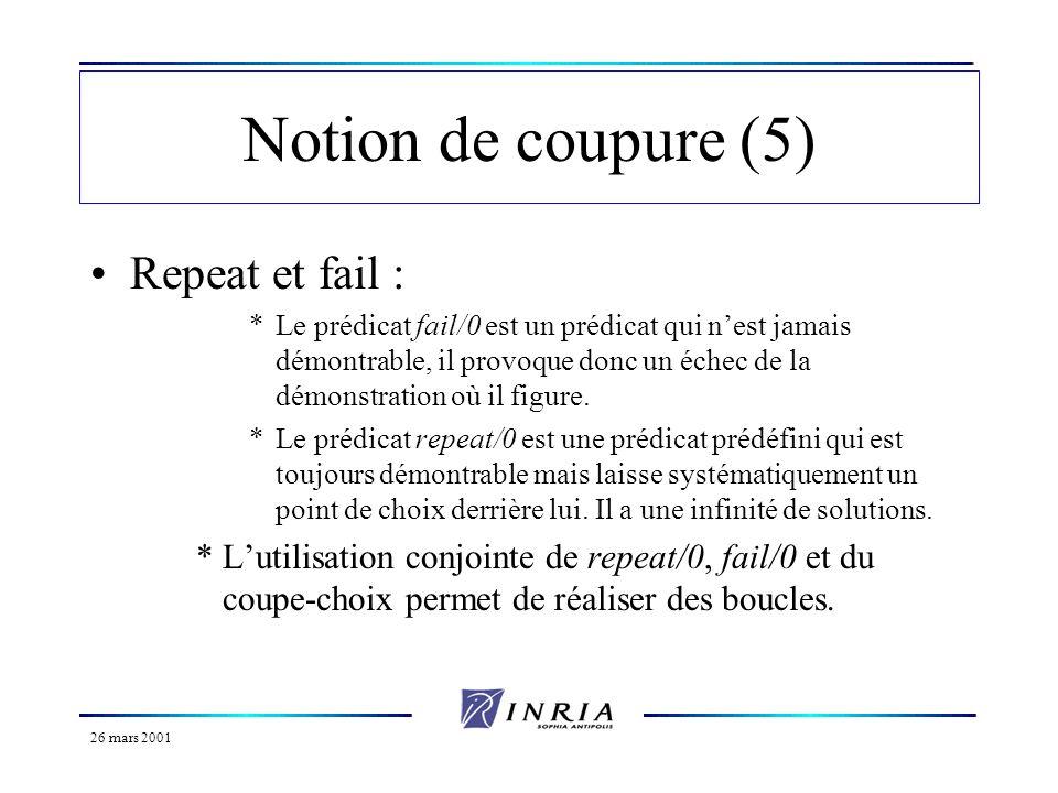 26 mars 2001 Notion de coupure (5) Repeat et fail : *Le prédicat fail/0 est un prédicat qui nest jamais démontrable, il provoque donc un échec de la d