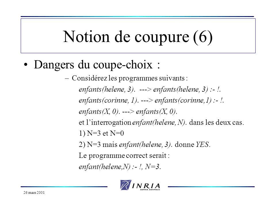 26 mars 2001 Notion de coupure (6) Dangers du coupe-choix : –Considérez les programmes suivants : enfants(helene, 3). ---> enfants(helene, 3) :- !. en
