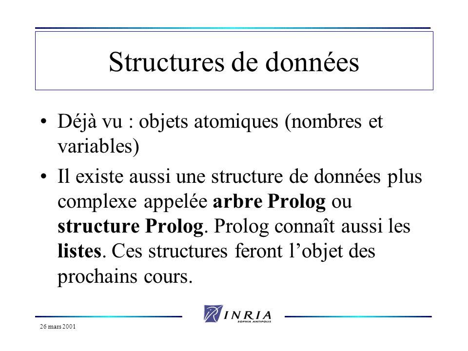 26 mars 2001 Structures de données Déjà vu : objets atomiques (nombres et variables) Il existe aussi une structure de données plus complexe appelée ar