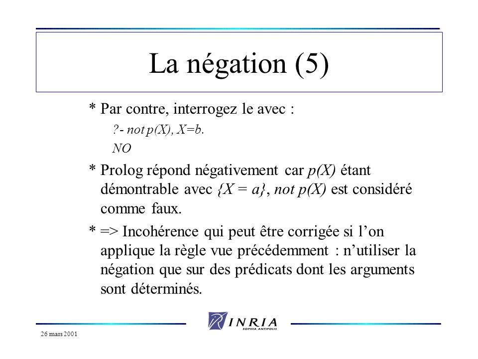 26 mars 2001 La négation (5) *Par contre, interrogez le avec : ?- not p(X), X=b. NO *Prolog répond négativement car p(X) étant démontrable avec {X = a