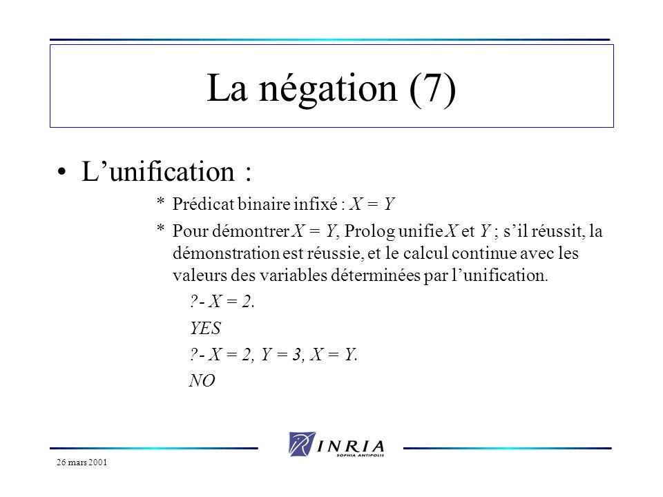 26 mars 2001 La négation (7) Lunification : *Prédicat binaire infixé : X = Y *Pour démontrer X = Y, Prolog unifie X et Y ; sil réussit, la démonstrati