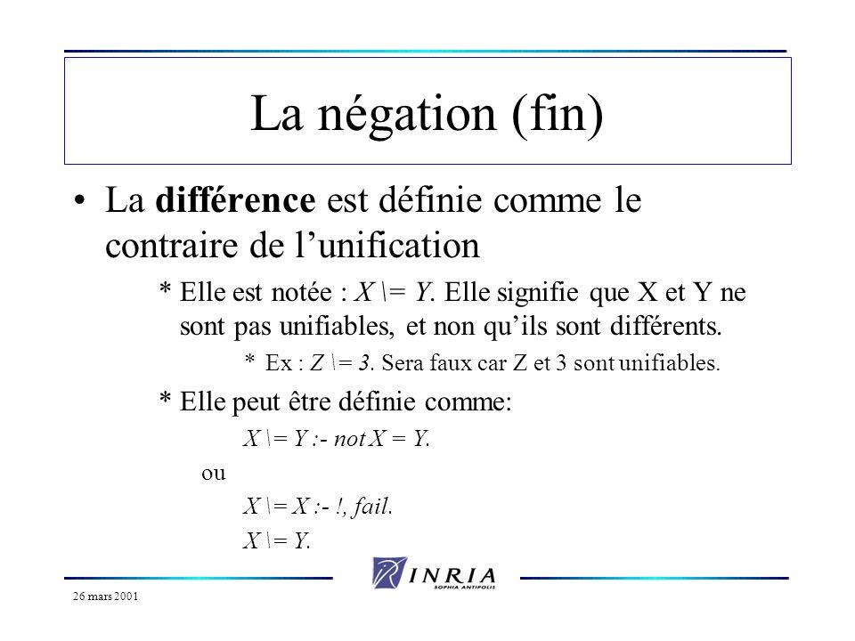 26 mars 2001 La négation (fin) La différence est définie comme le contraire de lunification *Elle est notée : X \= Y. Elle signifie que X et Y ne sont