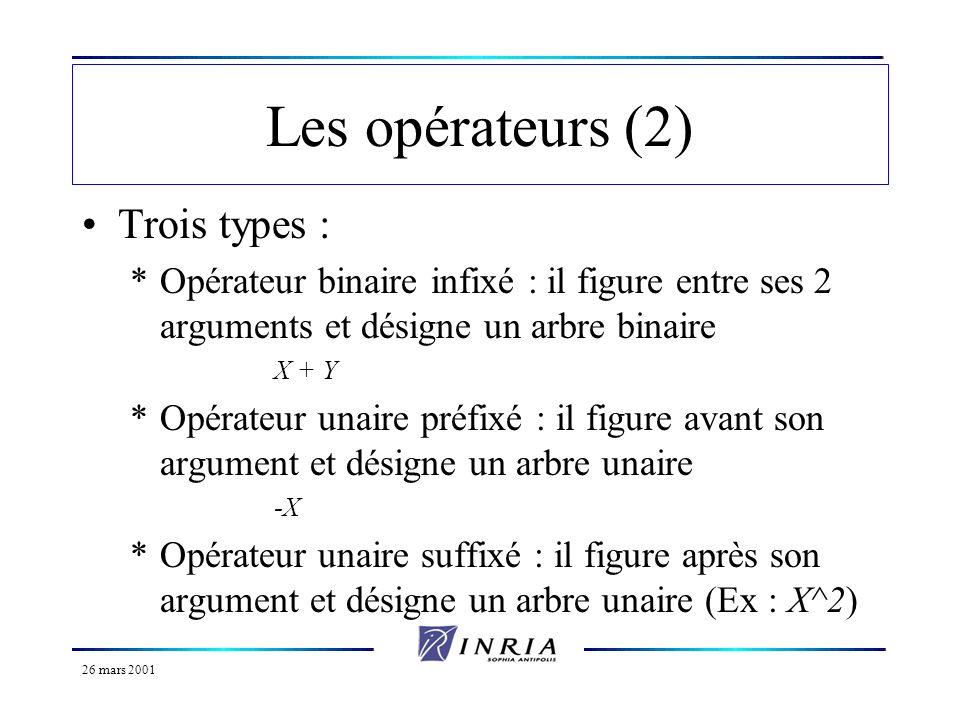 26 mars 2001 Les opérateurs (2) Trois types : *Opérateur binaire infixé : il figure entre ses 2 arguments et désigne un arbre binaire X + Y *Opérateur