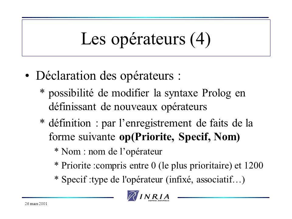 26 mars 2001 Les opérateurs (4) Déclaration des opérateurs : *possibilité de modifier la syntaxe Prolog en définissant de nouveaux opérateurs *définit