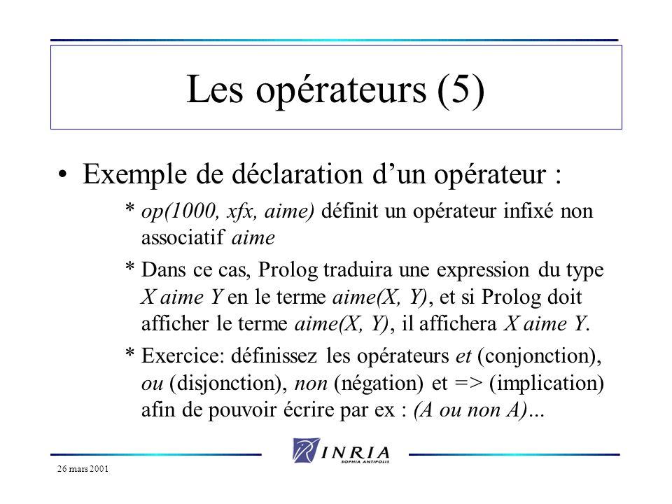 26 mars 2001 Les opérateurs (5) Exemple de déclaration dun opérateur : *op(1000, xfx, aime) définit un opérateur infixé non associatif aime *Dans ce c