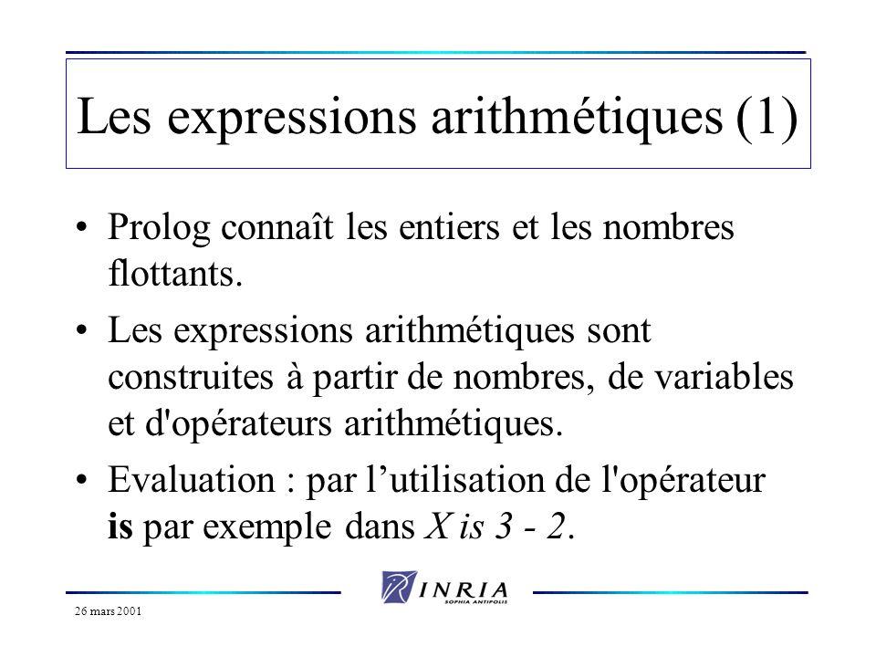 26 mars 2001 Les expressions arithmétiques (1) Prolog connaît les entiers et les nombres flottants. Les expressions arithmétiques sont construites à p