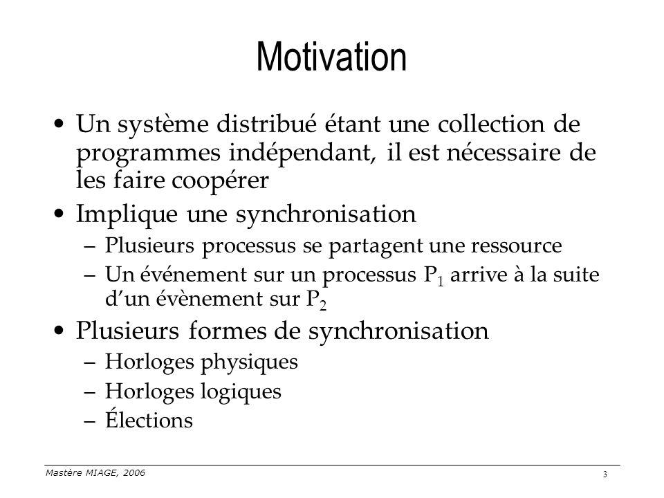 Mastère MIAGE, 2006 3 Motivation Un système distribué étant une collection de programmes indépendant, il est nécessaire de les faire coopérer Implique