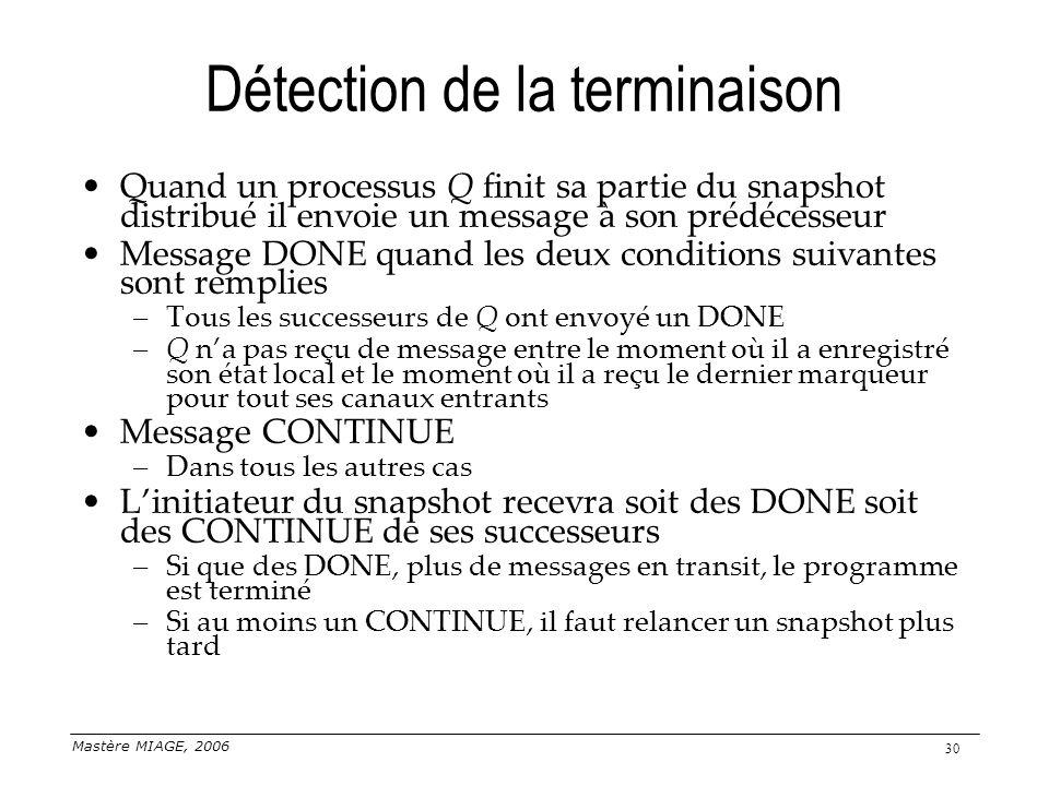 Mastère MIAGE, 2006 30 Détection de la terminaison Quand un processus Q finit sa partie du snapshot distribué il envoie un message à son prédécesseur