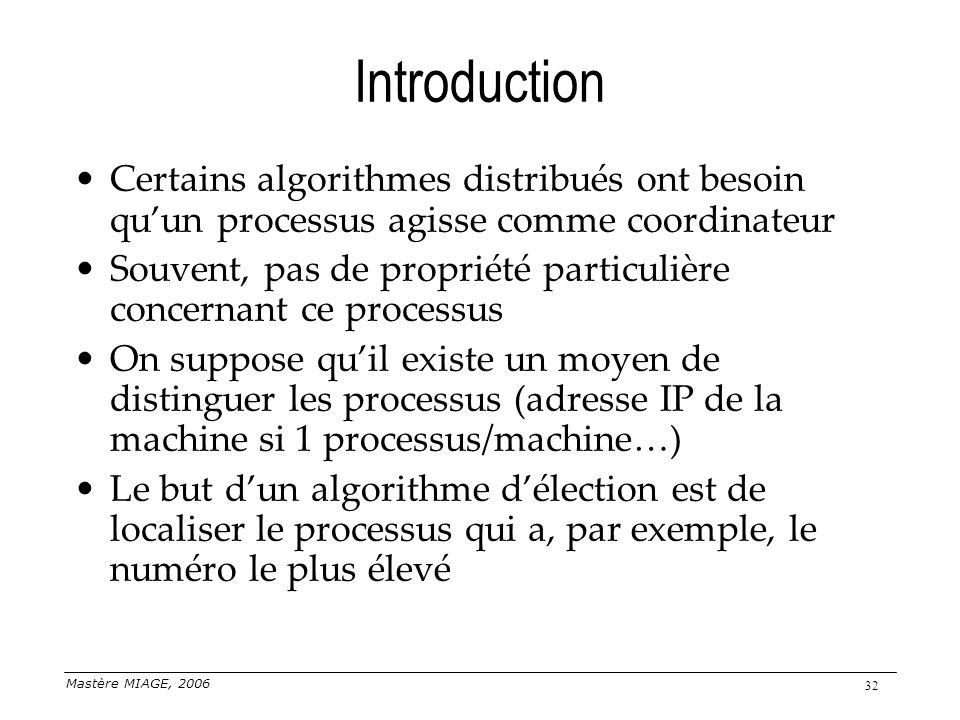 Mastère MIAGE, 2006 32 Introduction Certains algorithmes distribués ont besoin quun processus agisse comme coordinateur Souvent, pas de propriété part