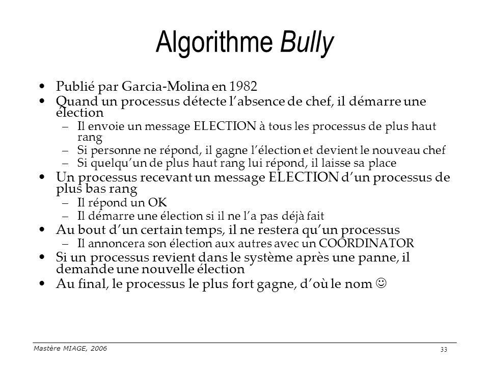 Mastère MIAGE, 2006 33 Algorithme Bully Publié par Garcia-Molina en 1982 Quand un processus détecte labsence de chef, il démarre une élection –Il envo