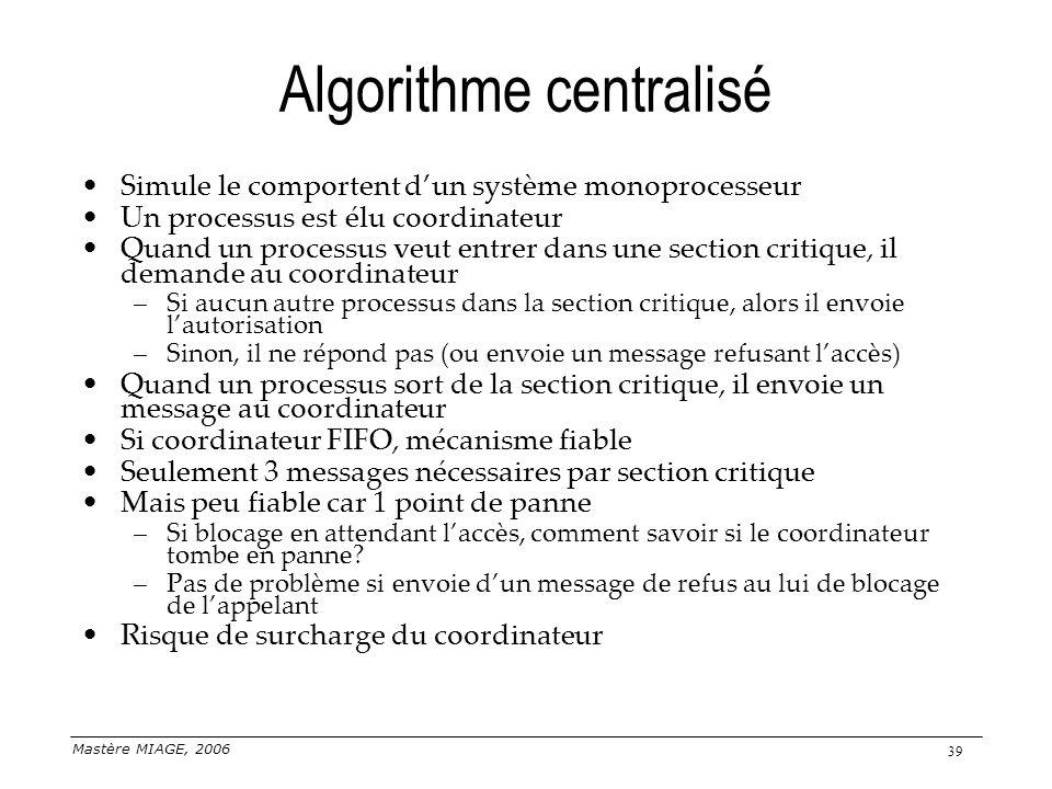 Mastère MIAGE, 2006 39 Algorithme centralisé Simule le comportent dun système monoprocesseur Un processus est élu coordinateur Quand un processus veut