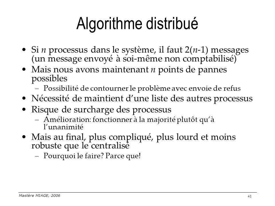 Mastère MIAGE, 2006 41 Algorithme distribué Si n processus dans le système, il faut 2(n-1) messages (un message envoyé à soi-même non comptabilisé) Ma