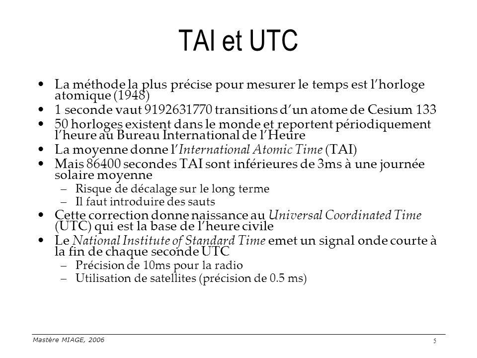 Mastère MIAGE, 2006 5 TAI et UTC La méthode la plus précise pour mesurer le temps est lhorloge atomique (1948) 1 seconde vaut 9192631770 transitions d