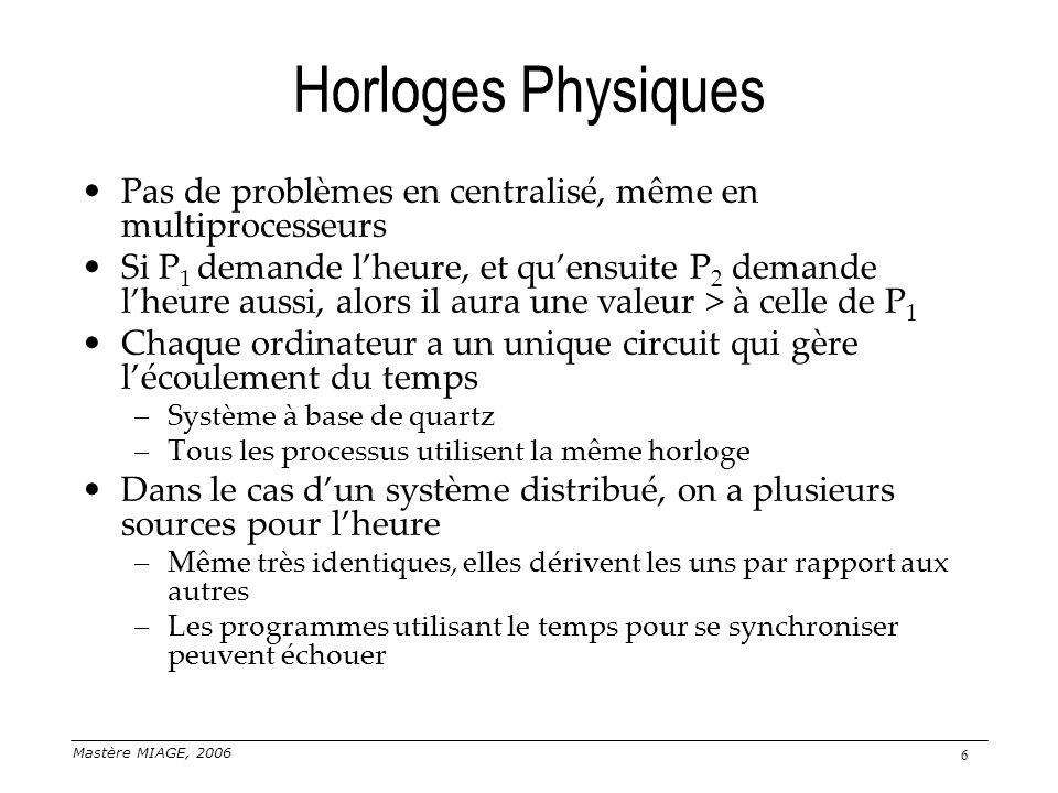 Mastère MIAGE, 2006 6 Horloges Physiques Pas de problèmes en centralisé, même en multiprocesseurs Si P 1 demande lheure, et quensuite P 2 demande lheu