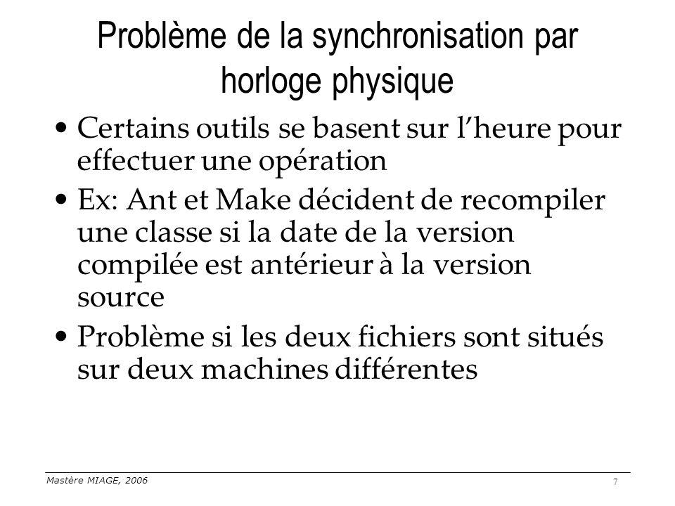 Mastère MIAGE, 2006 38 Exclusion Une section critique est une partie du code qui ne peut être exécutée que par un processus à la fois Dans un système centralisé, utilisation de sémaphores, moniteurs… Plusieurs algorithmes disponibles dans les systèmes distribués